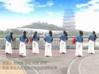 陕西西安亲青广场舞 映山红 背面展示
