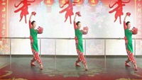悦儿广场舞《拜新年》编舞:慧慧正反面演示及分解动作教学