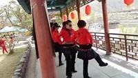 定西市快乐水兵舞队    随走随玩到什川1正背面演示及慢速口令教学