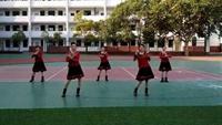 团山青源健身舞队《唱着情歌流着泪》正反面演示及分解动作教学