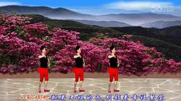 海渊佟姐广场舞《又见映山红》编舞廖弟 正背面演示